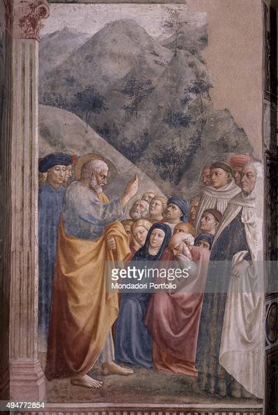 Preaching of Saint Peter by Masolino 14241425 15th Century fresco 260 x 88 cm Italy Tuscany Florence Church of Santa Maria del Carmine Brancacci...