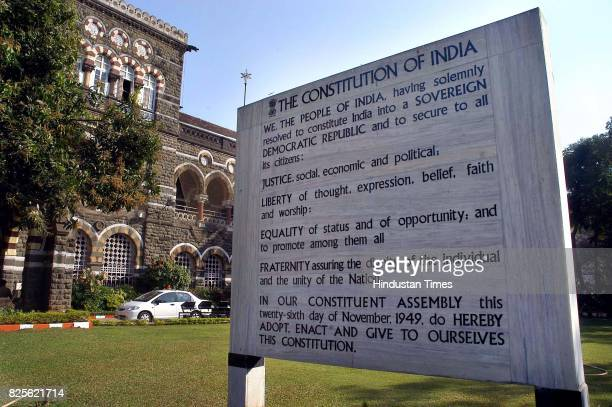 Preamble to the Constitution of India outside the Maharashtra Police Headquarters at Colaba on Wednesday