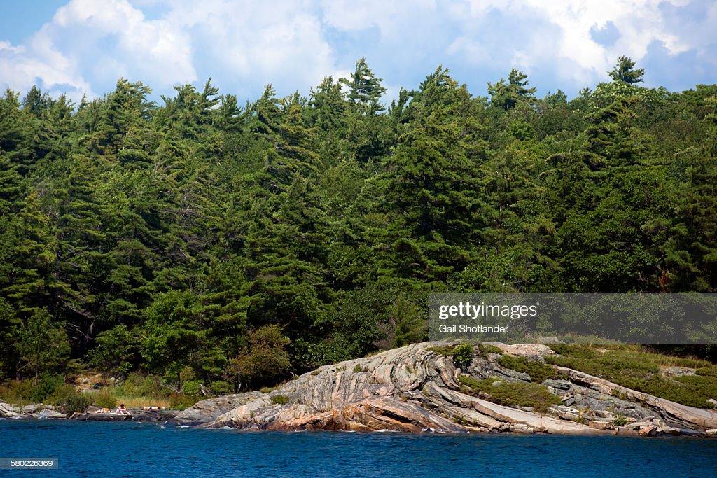 Precambrian rock on water's edge