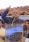 Precandidate Andres Manuel Lopez Obrador of the PRD PT and Convergence for the presidency of the republic during a rally on the esplanade of...