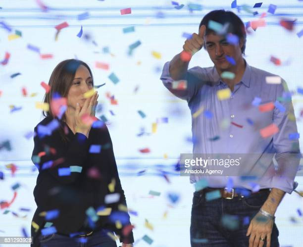 Precandidate for senator for 'Cambiemos' Esteban Bullrich celebrates with the governor Maria Eugenia Vidal as the official results that became clear...