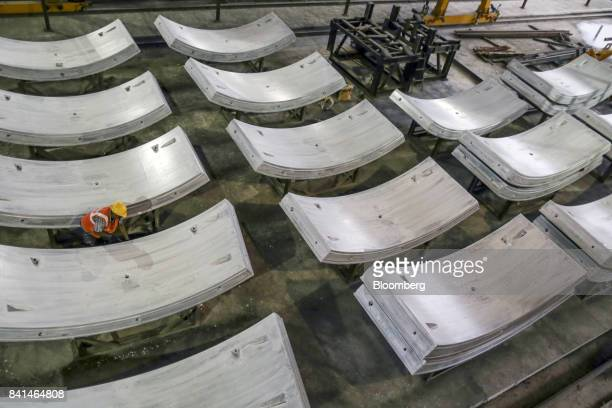 Precast concrete tunnel segments sit at the Mumbai Metro Rail Corp casting yard in Mumbai India on Monday Aug 28 2017 The expanding mega city's...