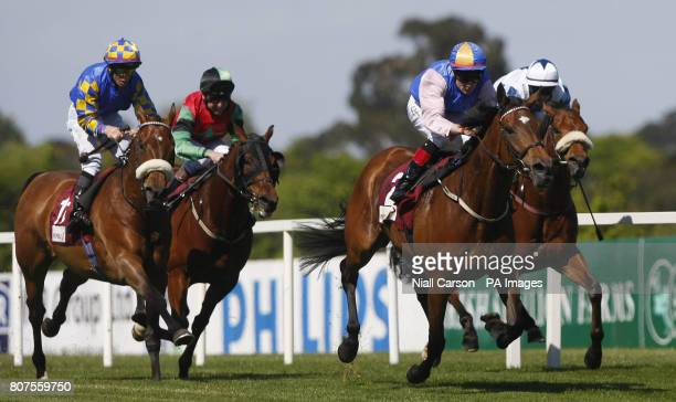 Precious Gem ridden by Patrick Smullen goes on to win the The Property Properly Handicap during the Derrinstown Derby Trial Day at Leopardstown...