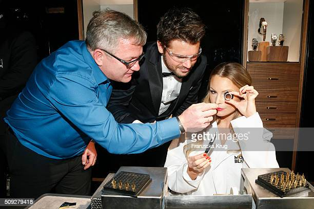 Precision engineer from Montblanc Thore Schoelermann and Jana Julie Kilka during the Montblanc House Opening on February 09 2016 in Hamburg Germany