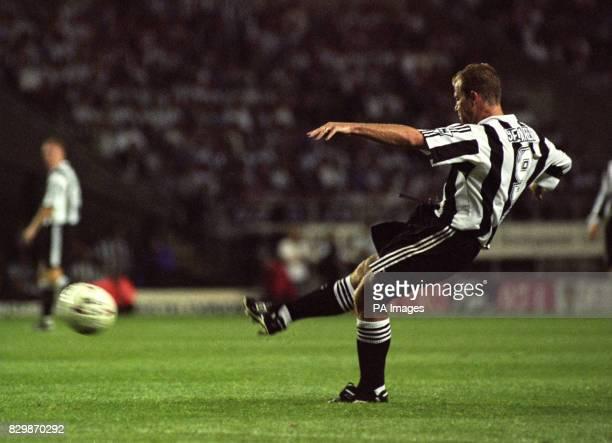 Precision shot from Alan Shearer as he opens his scoring for Newcastle United from a free kick against Wimbledon tonightPhoto John GilesPA