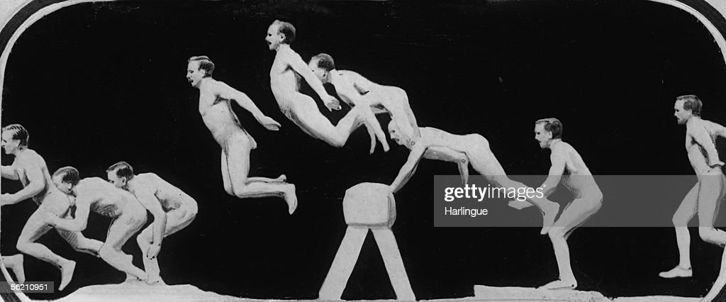 Precursor of the cinema Splitting up of a horse jump by a process like a chronophotograph of Etienne Jules Marey