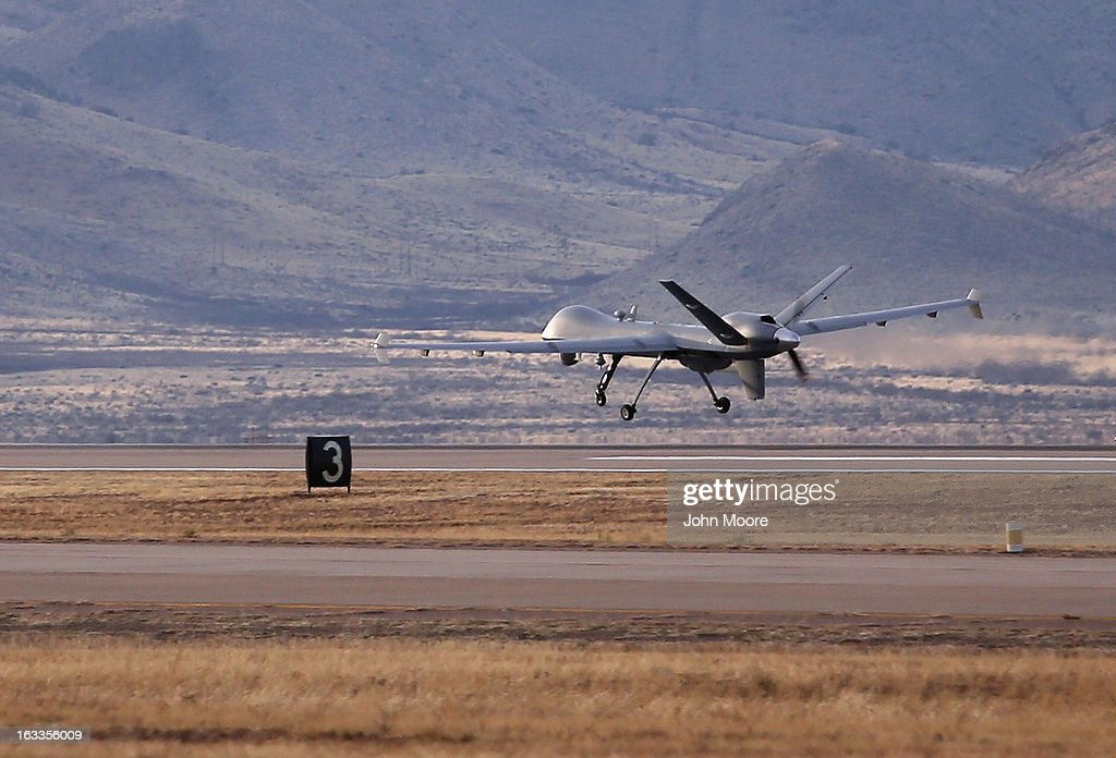 Predator drone operated by US Office of Air and Marine takes off for a surveillance flight near the Mexican border on March 7 2013 from Fort Huachuca...