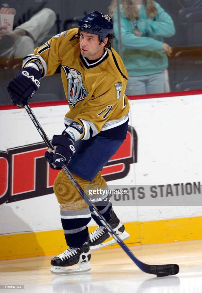 Predators <a gi-track='captionPersonalityLinkClicked' href=/galleries/search?phrase=David+Legwand&family=editorial&specificpeople=202553 ng-click='$event.stopPropagation()'>David Legwand</a> #11 skates in the second period. The Nashville Predators beat the Chicago Blackhawks 5-3 on October 25, 2005.