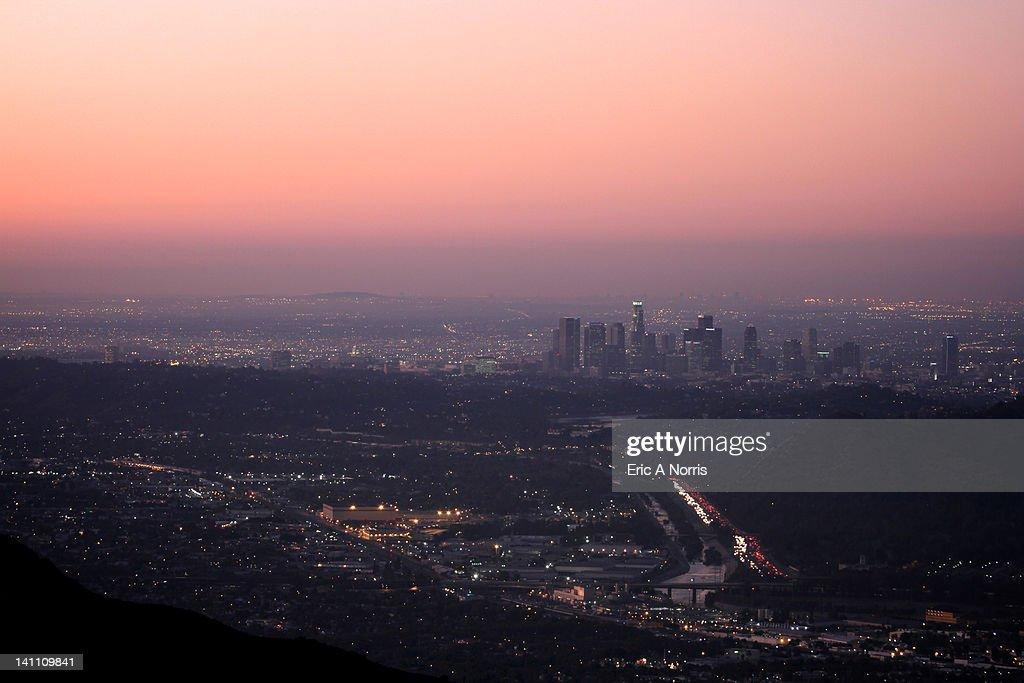 Predawn light falls on Los Angeles
