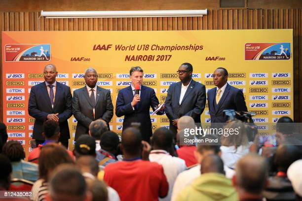 Predident Lord Sebastian Coe speaks to the media during a press conference ahead of the IAAF U18 World Championships on July 11 2017 in Nairobi Kenya