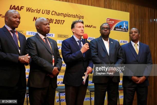 Predident Lord Sebastian Coe speaks to the media during a press conference ahead of the IAAF U18 World Championships on July 11 2017 in Nairobi Kenya
