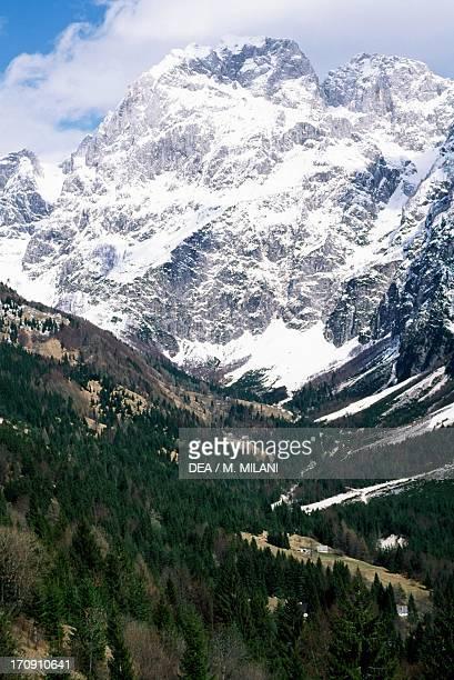 Predil pass and Mount Mangart Triglav National Park Julian Alps Slovenia