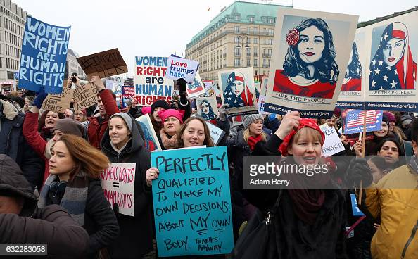 Predominently women participants demonstrate in front of the United States Embassy and Brandenburg Gate one day after the inauguration of US...