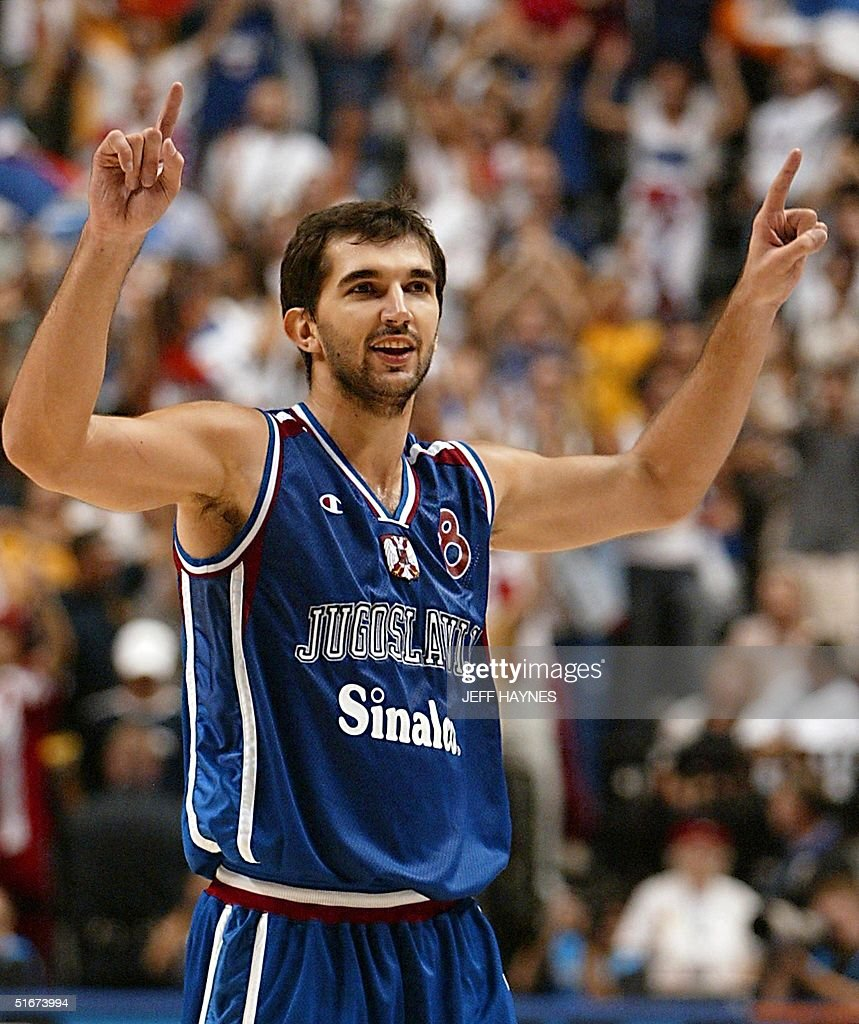 Predrag Stojakovic of Yugoslavia celebrates after