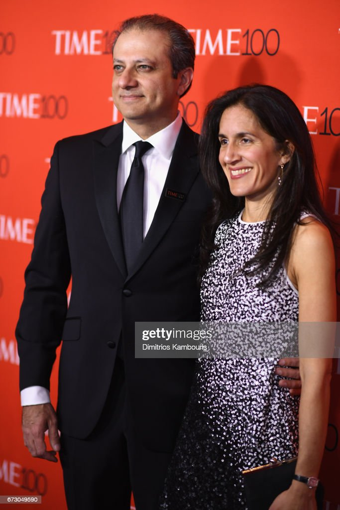 Preet Bharara (L) and Dalya Bharara attend the 2017 Time 100 Gala at Jazz at Lincoln Center on April 25, 2017 in New York City.