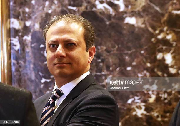 Preet Bharara the top federal prosecutor in Manhattan arrives at Trump Tower on November 30 2016 in New York City Presidentelect Donald Trump and his...