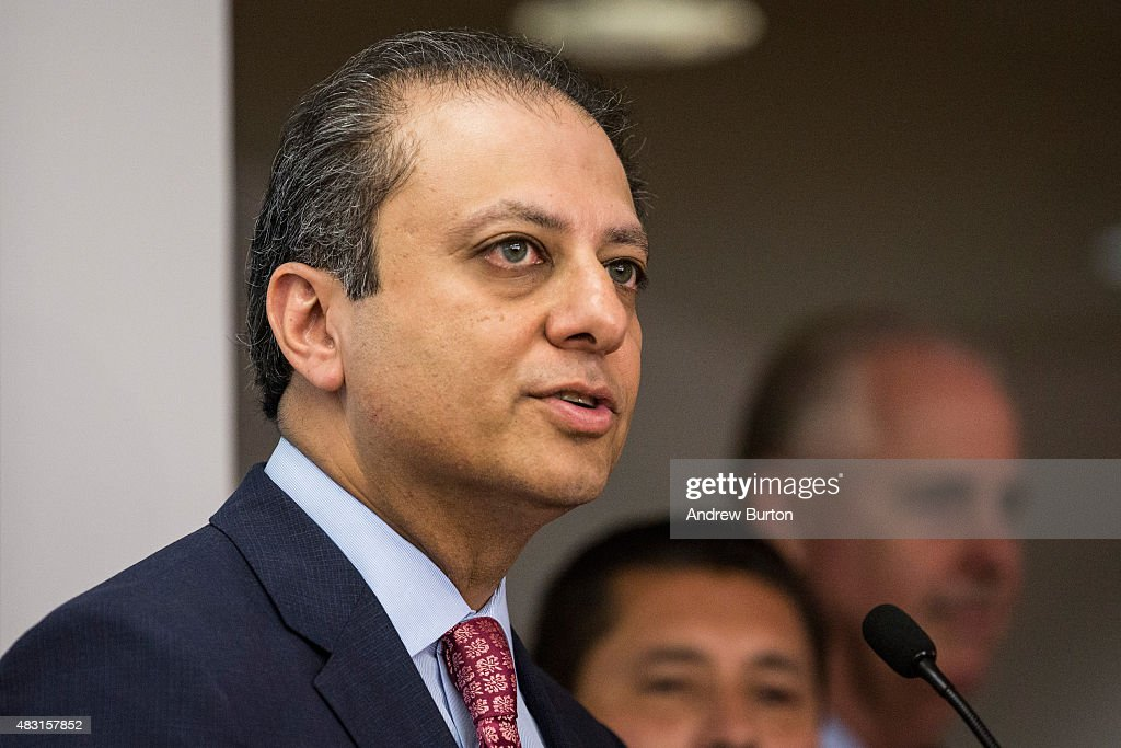 Preet Bharara the United States Attorney for the Southern District of New York speaks at a press conference announcing the recovery of Roman...