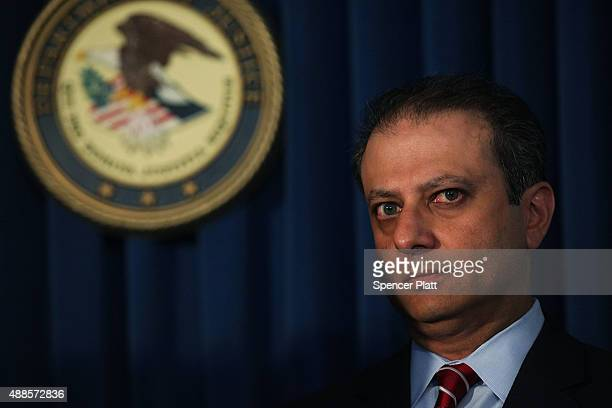 Preet Bharara the United States attorney for the Southern District of New York speaks at a news conference with other law enforcement heads where it...