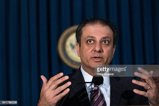 Preet Bharara United States Attorney for the Southern District of New York speaks during a press conference announcing corruption charges against...