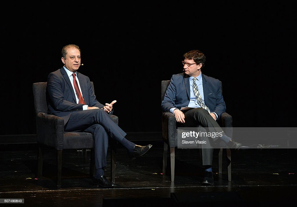 Preet Bharara United States Attorney Southern District of New York and Daniel Klaidman Deputy Editor of Yahoo News attend the 2016 'Tina Brown Live...