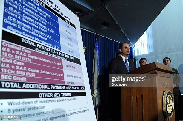 Preet Bharara US attorney for the Southern District of New York announces a plea agreement with SAC Capital Advisors LP in New York US on Monday Nov...