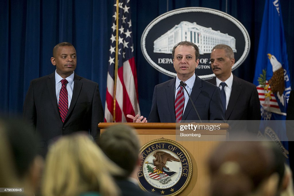 <a gi-track='captionPersonalityLinkClicked' href=/galleries/search?phrase=Preet+Bharara&family=editorial&specificpeople=6378363 ng-click='$event.stopPropagation()'>Preet Bharara</a>, U.S. attorney for the Southern District of New York, center, speaks during a news conference with <a gi-track='captionPersonalityLinkClicked' href=/galleries/search?phrase=Eric+Holder&family=editorial&specificpeople=1060367 ng-click='$event.stopPropagation()'>Eric Holder</a>, U.S. attorney general, right, and <a gi-track='captionPersonalityLinkClicked' href=/galleries/search?phrase=Anthony+Foxx&family=editorial&specificpeople=7128225 ng-click='$event.stopPropagation()'>Anthony Foxx</a>, U.S. secretary of transportation, at the Department of Justice in Washington, D.C., U.S., on Wednesday, March 19, 2014. Toyota Motor Corp. has agreed to pay a $1.2 billion penalty to end a U.S. criminal probe into sudden unintended acceleration that led to the recall of more than 10 million vehicles, the Justice Department said. Photographer: Andrew Harrer/Bloomberg via Getty Images