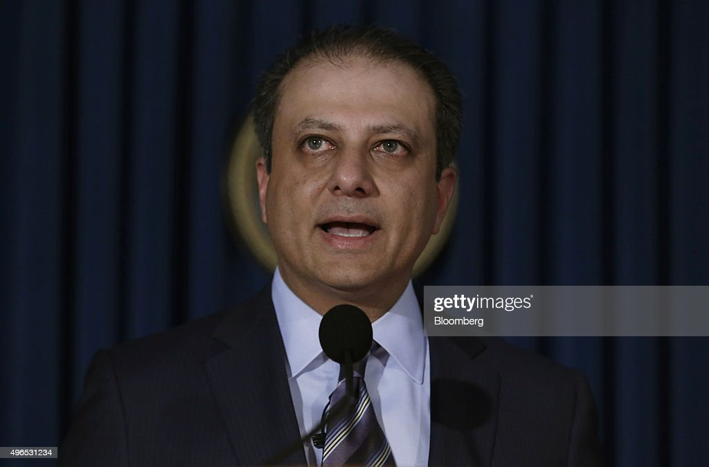 Preet Bharara US attorney for the Southern District of New York speaks during a news conference in New York US on Tuesday Nov 10 2015 The US...