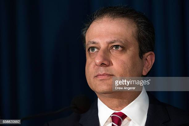 Preet Bharara US Attorney for the Southern District of New York pauses while speaking during a press conference to announce federal corruption...
