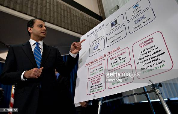 Preet Bharara US attorney for the Southern District of New York speaks during a news conference regarding insider trading arrests in New York US on...