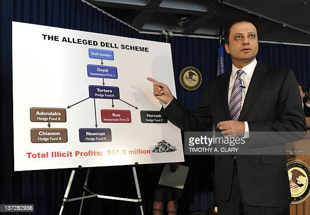 Preet Bharara US Attorney for the Southern District of New York speaks at a press conference on January 18 2012 in New York to announce charges...