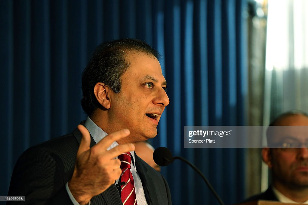 Preet Bharara US Attorney for the Southern District of New York speaks at a press conference following the arrest of the speaker of the New York...