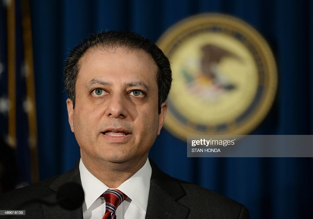 Preet Bharara, U.S. Attorney for the Southern District of New York, at a ceremony to return a painting by Serge Poliakoff called Composition abstraite (Abstract composition) (not pictured) to Brazil, May 9, 2014 at the US Attorney's office in New York. This and other artworks were part of a collection acquired by Brazilian Edemar Cid Ferreira, founder and former president of Banco Santos and were suspected to be smuggled into the US as part of a money laundering scheme. AFP PHOTO/Stan HONDA