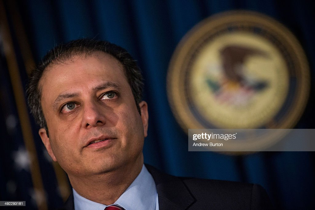 Preet Bharara US Attorney for the Southern District of New York speaks at a press conference to announce a massive law enforcement action targeting...