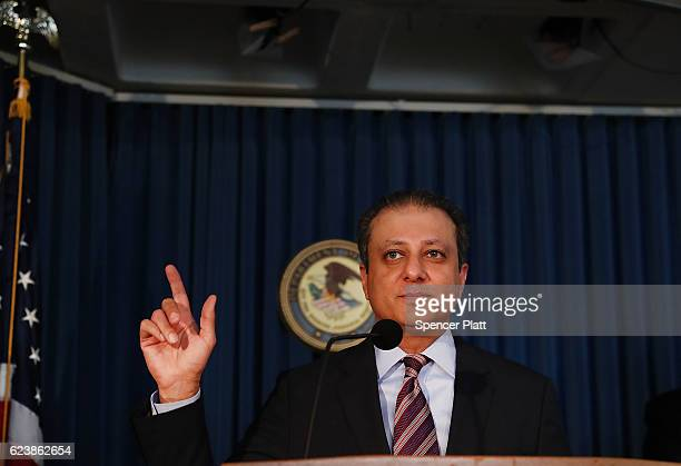 Preet Bharara US attorney for the Southern District of New York speaks at a news conference where it was announced that two former pharmaceutical...
