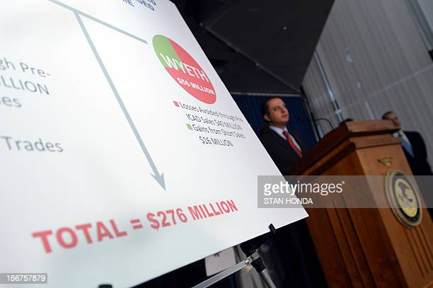 Preet Bharara US Attorney for the Southern District of New York speaks at press conference November 20 2012 in New York as he announces charges...