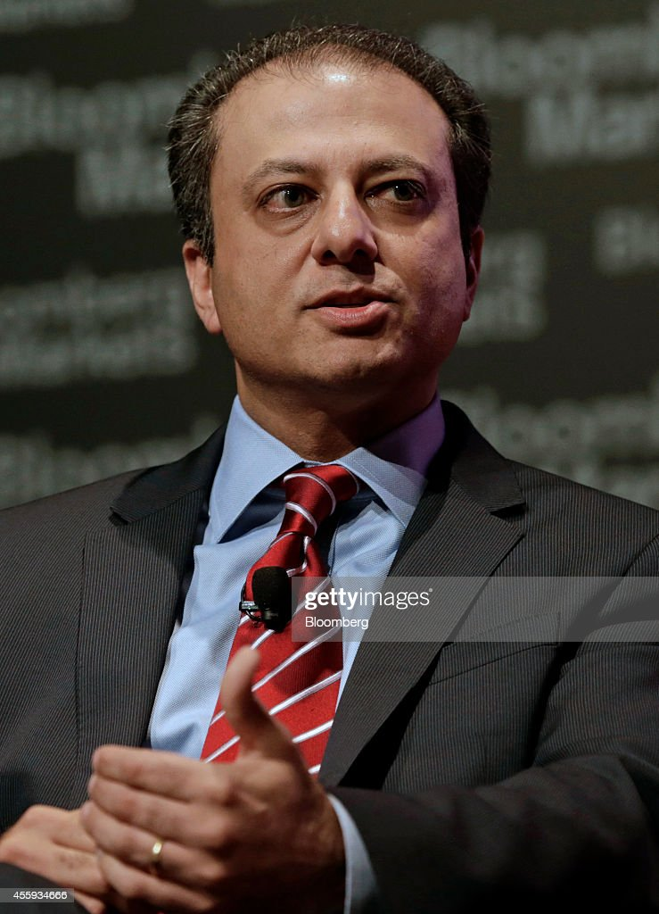 Preet Bharara US attorney for the Southern District of New York speaks at the Bloomberg Markets Most Influential Summit in New York US on Monday Sept...