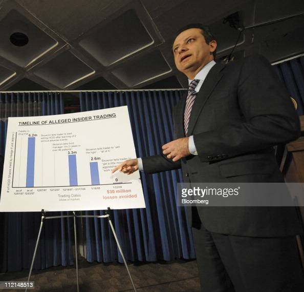 Preet Bharara US attorney for the Southern District of New York points to a chart showing a timeline of alleged insider trading activities during a...