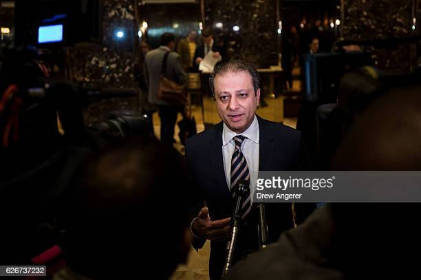 Preet Bharara US Attorney for the Southern District of New York speaks briefly to reporters at Trump Tower November 30 2016 in New York City...