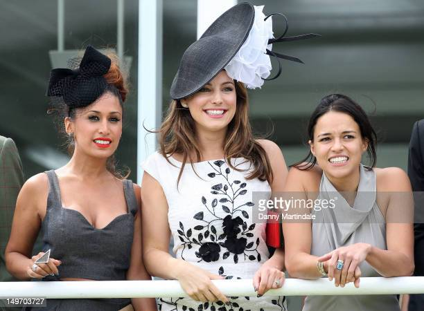 Preeya Kalidas Kelly Brook and Michelle Rodriguez attend ladies day at 'Glorious Goodwood' on August 2 2012 in Chichester England