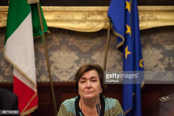 Prefect of Naples Carmela Pagano during Police press conference to the prefect for bilance of the blitz to day in Scampia Napoli Italy on October 3...