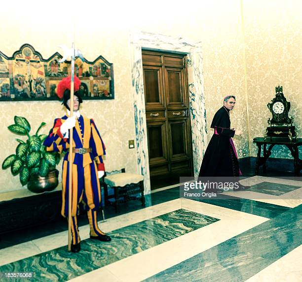 Prefect of the Pontifical House and former personal secretary of Pope Benedict XVI Georg Ganswein exits Pope Francis' studio at the Apostolic Palace...