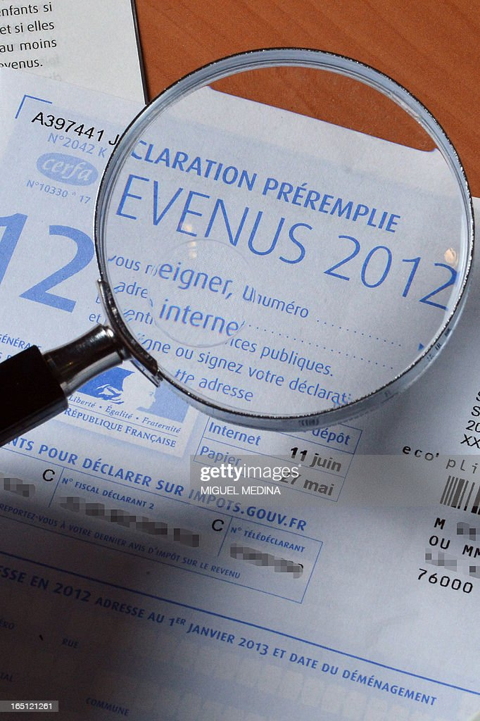 A pre-filled tax declaration for the 2012 income tax is pictured on March 31, 2013 in Paris.