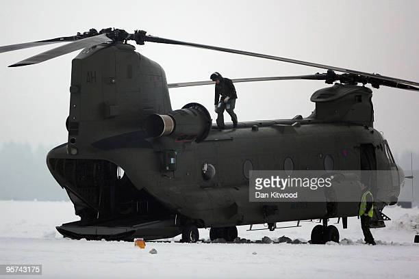 Preflight checks are made before a Chinook helicopter takes off at RAF Odiham on January 13 2010 in Odiham England Two of the eight new Chinook Mk3...