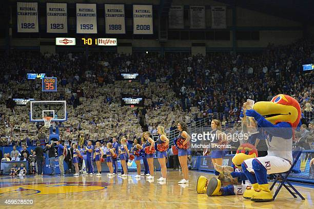 Pregame fanfare prior to a game between the Kansas Jayhawks and the UC Santa Barbara Gauchos at Allen Fieldhouse on November 14 2014 in Lawrence...