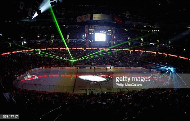 A pregame light show is displayed before the start of Game 2 of the Eastern Conference Semifinals between the Buffalo Sabres and the Ottawa Senators...