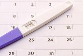 Pregnancy test on calendar background. Pregnancy care concept.