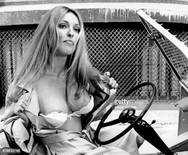 Pregnant actress Sharon Tate wife of film director Roman Polanski photographed on the set of her last film '12 1' in June 1969 in London England...