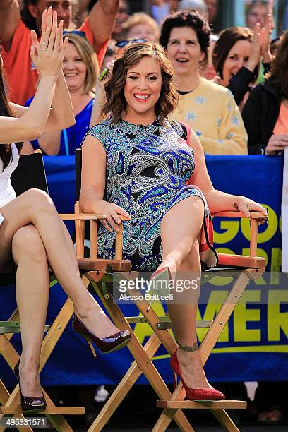 Pregnant Alyssa Milano is seen making an appearance at Good Morning America TV Show on June 2 2014 in New York City