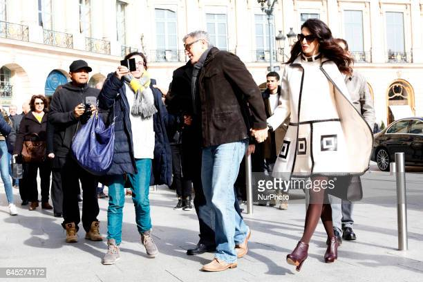 Pregnant Amal Clooney and Georges Clooney seen arriving at the Ritz hotel in Paris on February 25 2017