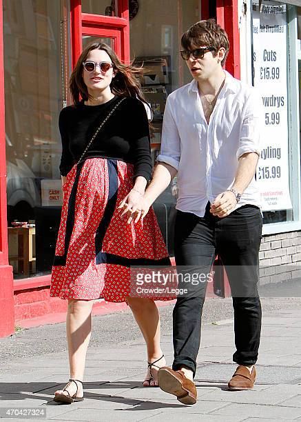 Pregnant British Actress Keira Knightly takes a stroll with her husband James Righton on April 15 2015 in London England
